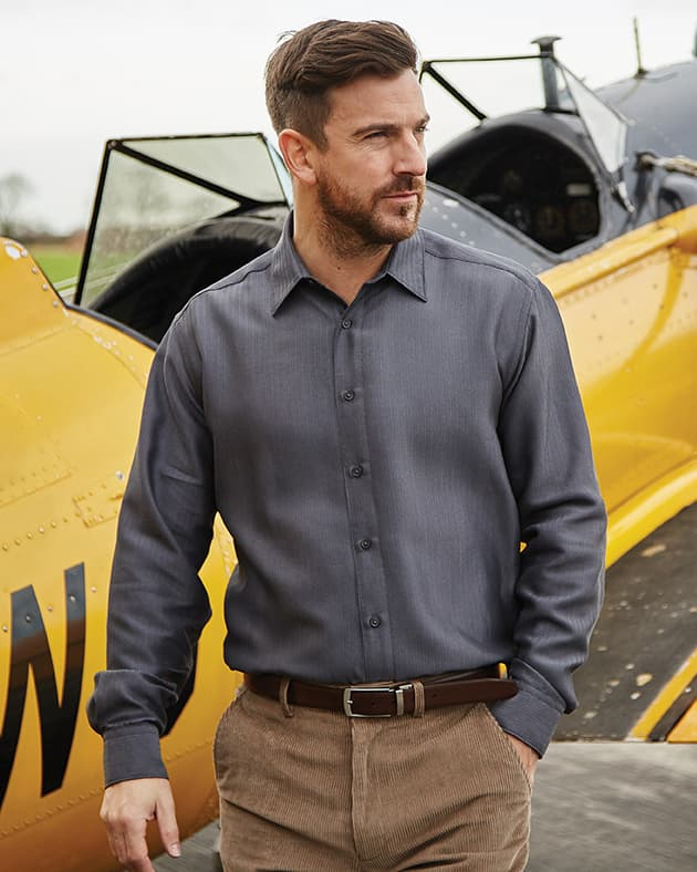Shop Double TWO Men's Soft Touch Casual Shirt in Charcoal