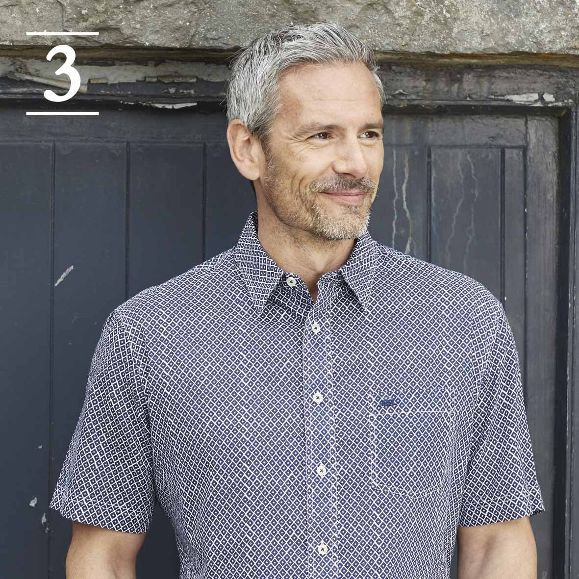 Navy Patterned Short Sleeve Casual Shirt