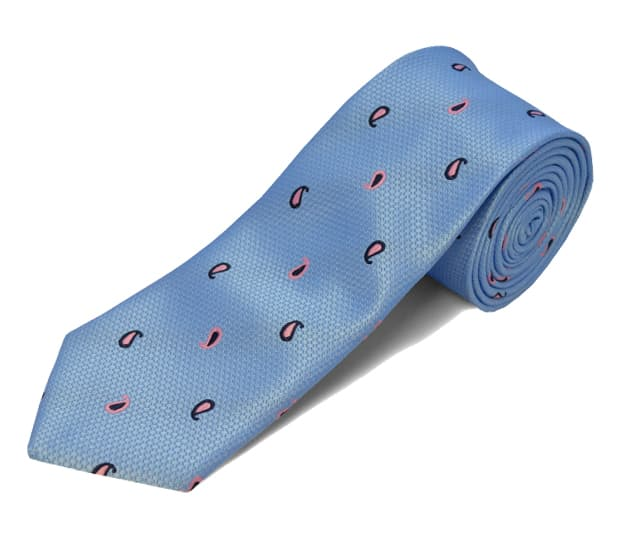 Shop Double Two Blue Mini Paisley Polyester Tie