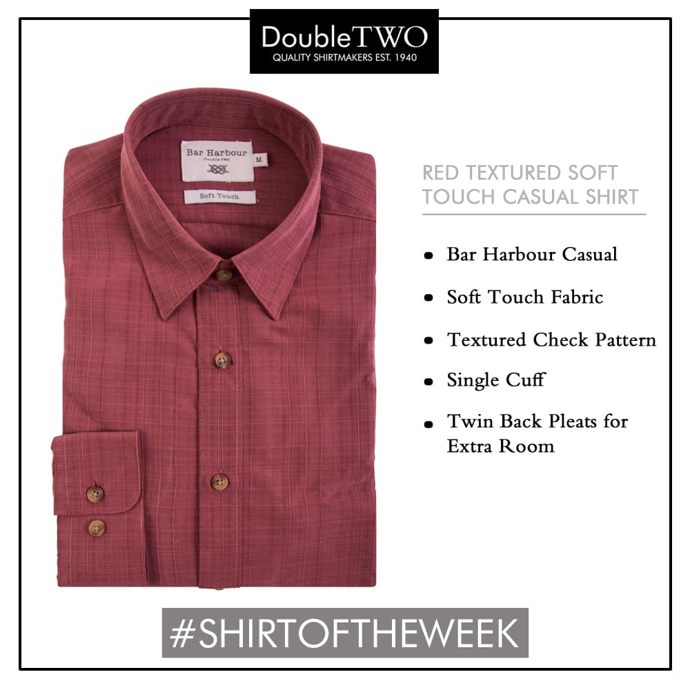 Shop our shirt of the week: Men's Casual Red Check patterned soft touch fabric shirt