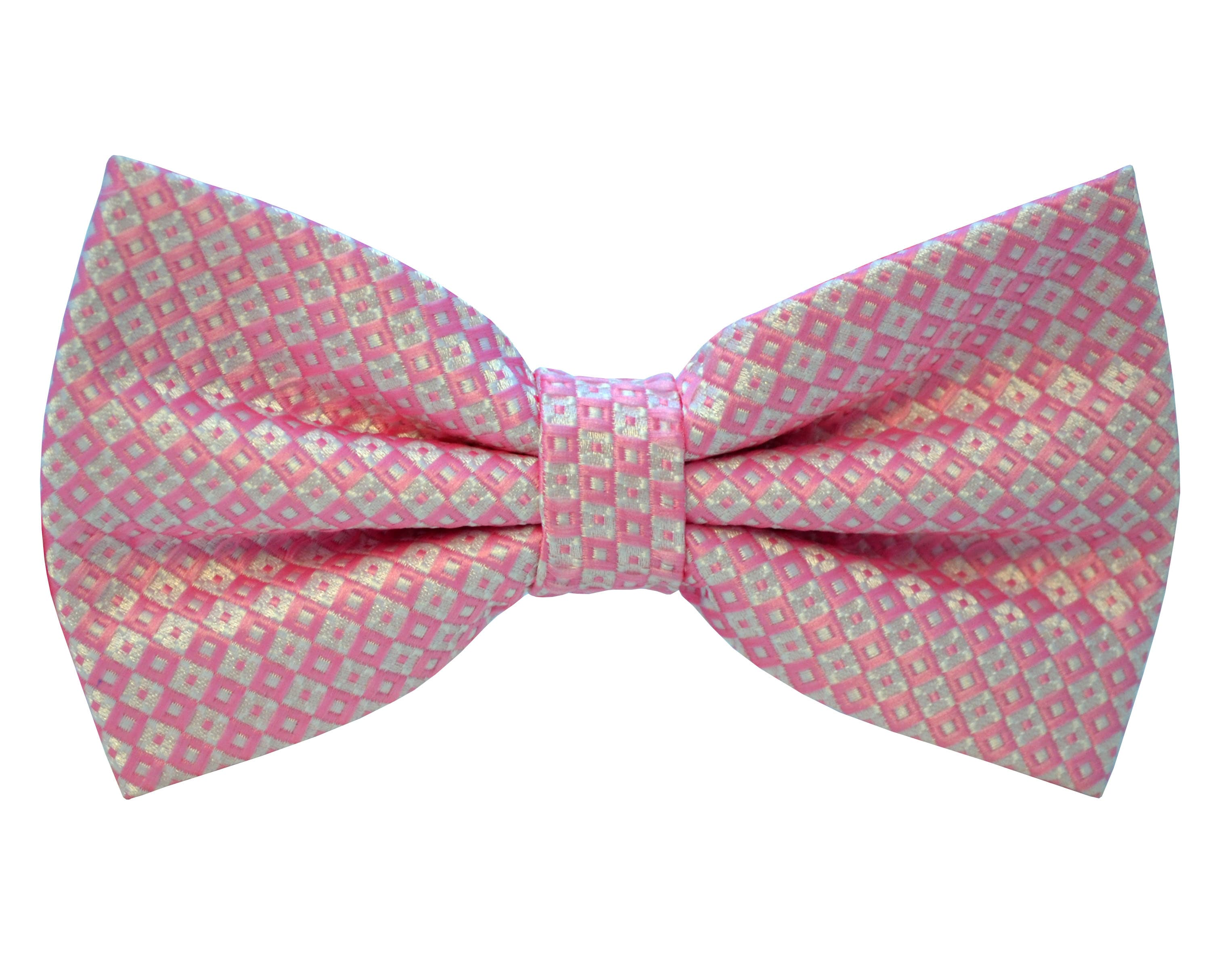 Shop Double TWO Pink Chequered Bow Tie