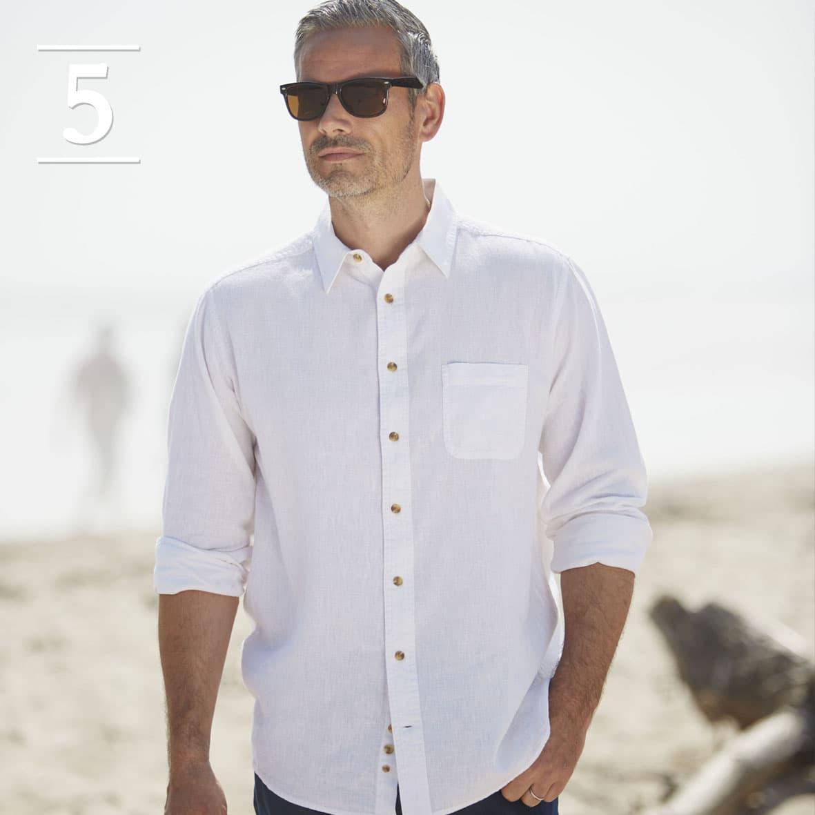 White Linen Short Sleeved Casual Shirt