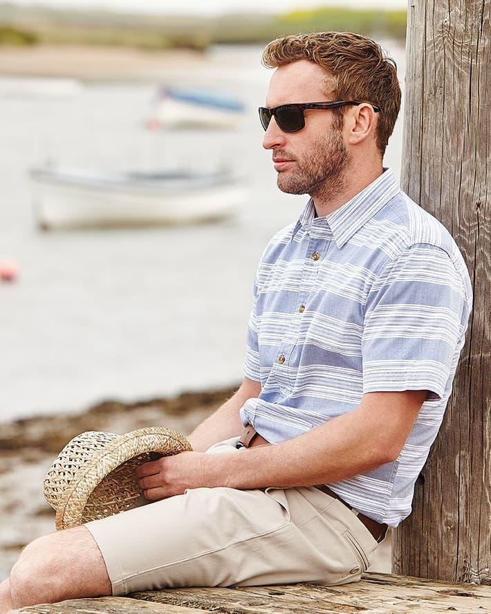 Slim Fit Pale Blue Stripe Casual Shirt